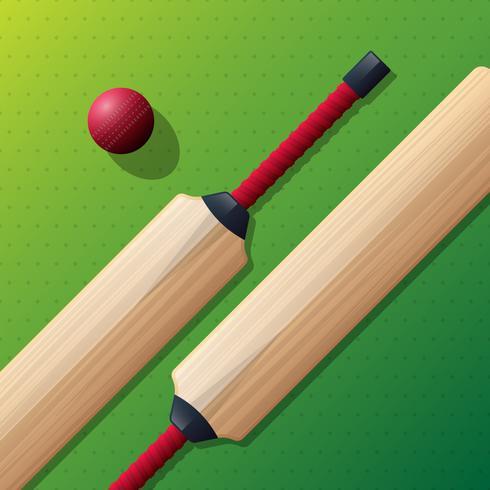 Kricketschläger und rote Kricketball-Illustration