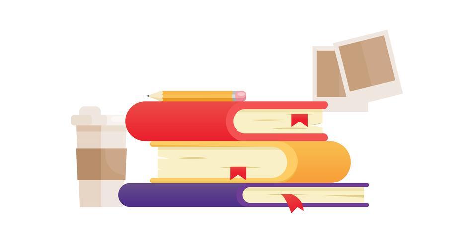 Abbildung mit drei Büchern in verschiedenen Farben. Kaffee- und Polaroidaufnahmen. Online-Bildung in der Schule. Vektor flache Fahne