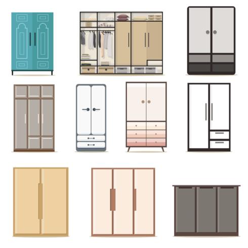 Conjunto de armarios de vestidor.