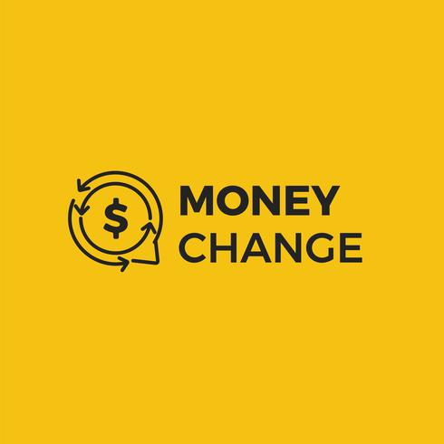 Money change chat logo. Currency exchange news and rates logotype. Vector gradient illustration