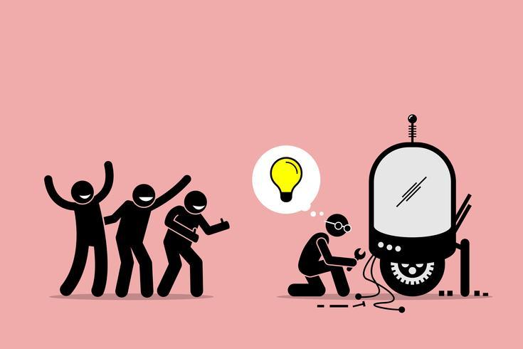 Fans som lovar och stöder en uppfinnare för att skapa ny idé och göra nyhet.