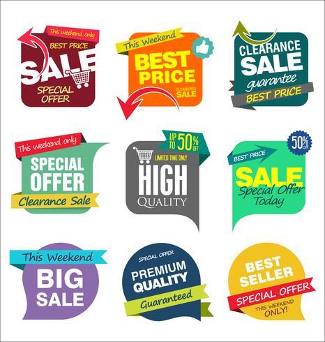 Diseño de plantillas de banner de venta y colección de etiquetas de ofertas especiales.