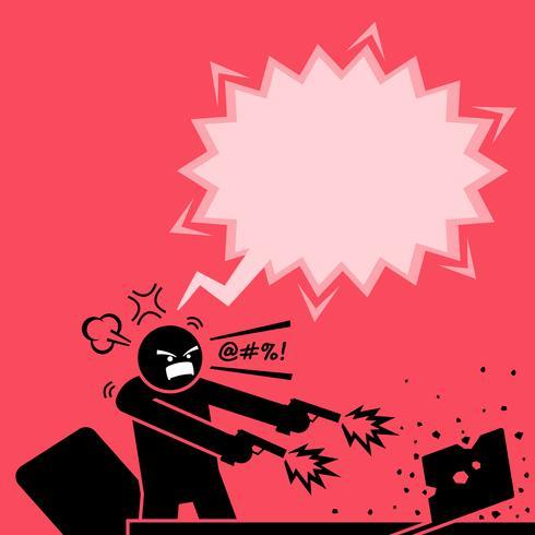Uomo che spara a un computer con due pistole perché è molto arrabbiato con il portatile.