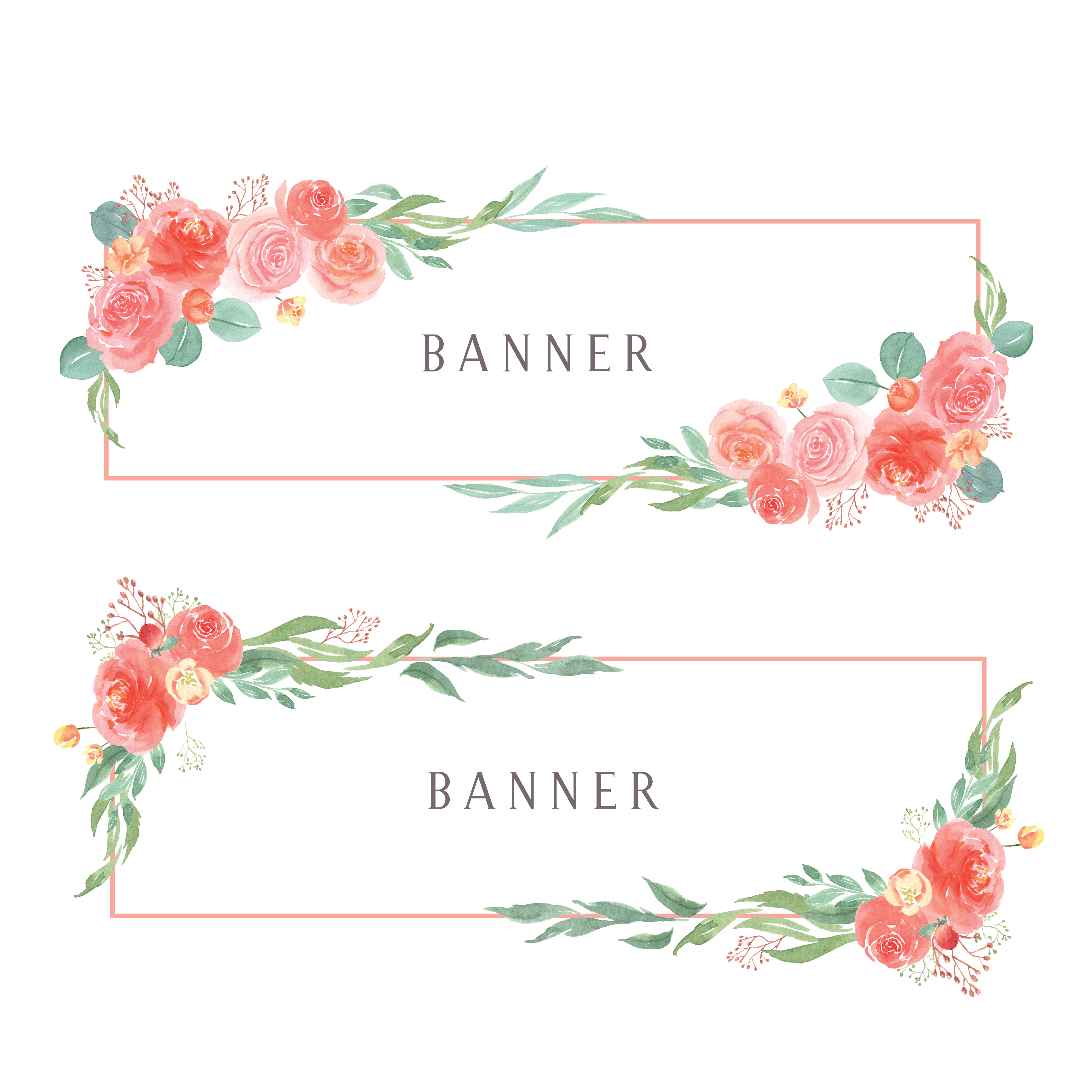Watercolor florals hand painted with text banner, lush ...