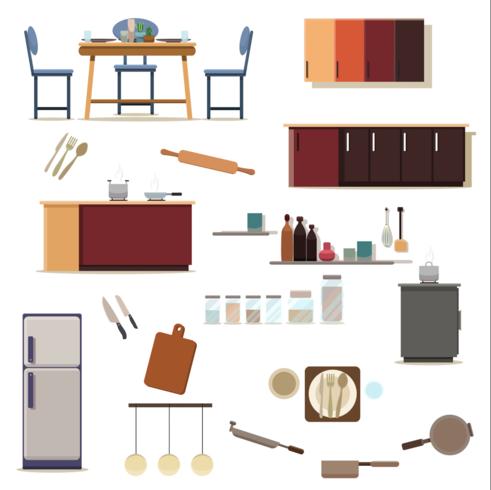 Set di decorazione della cucina della stanza della cucina