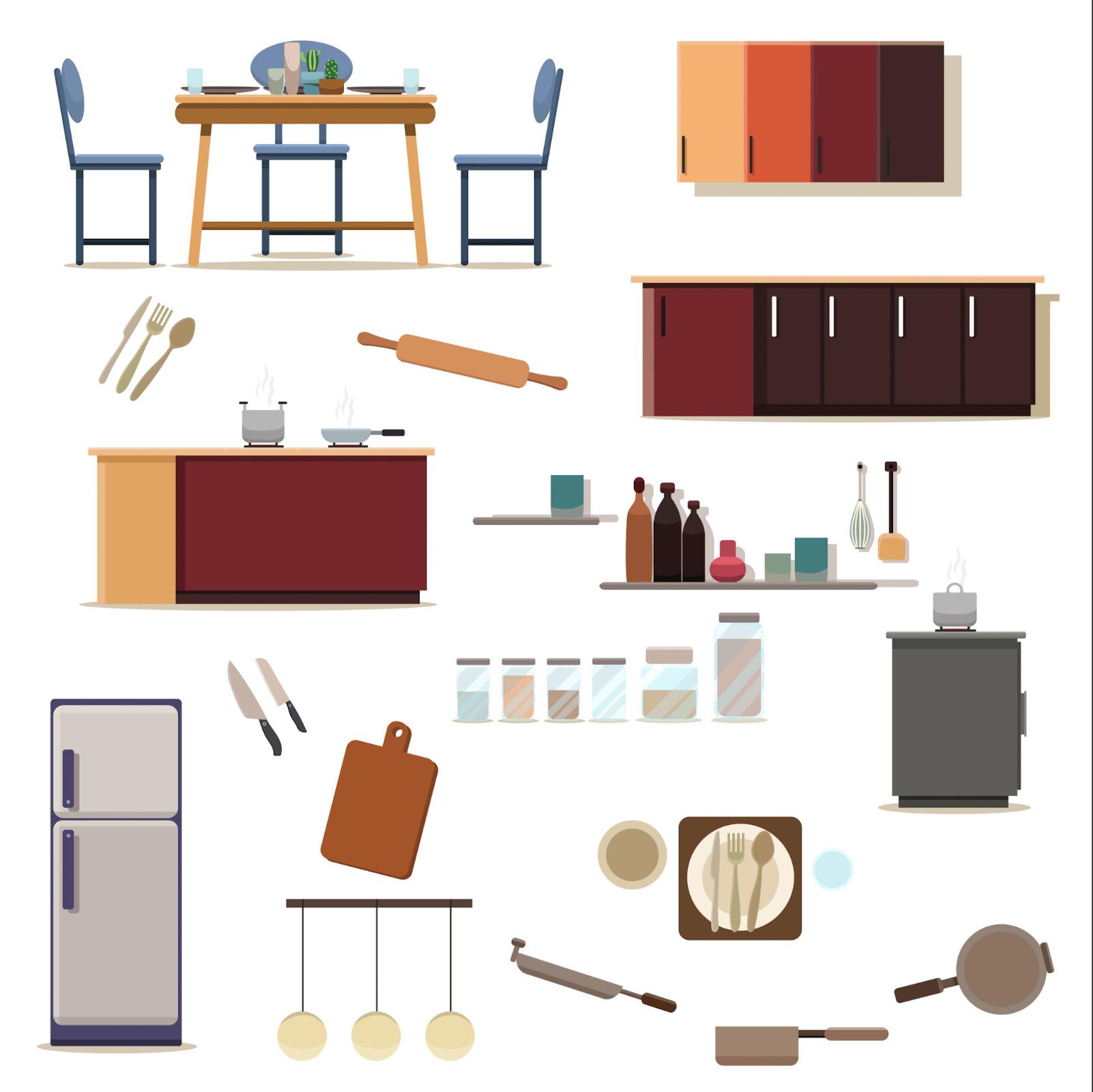 Set Of Kitchen Decoration Of Kitchen Room Download Free Vectors Clipart Graphics Vector Art