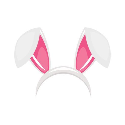 Máscara de carnaval de orejas y nariz de conejito para foto. Fiesta de los conejos. Ilustración vectorial de dibujos animados