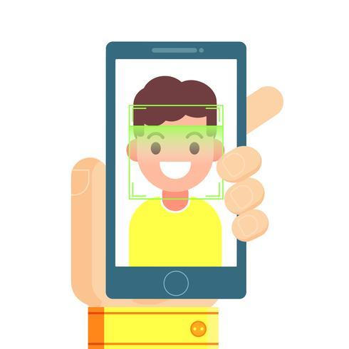 Riconoscimento dei volti e identificazione mobile. Youngman che sblocca il suo smartphone o app. illustrazione piatta