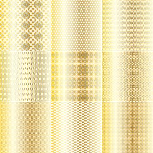 Patrones geométricos en oro blanco y blanco. vector