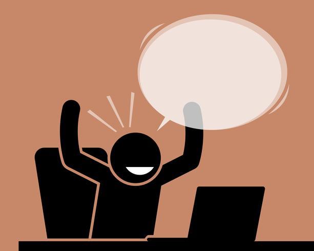 Mens die zijn handen opheffen terwijl het bekijken het computerscherm.