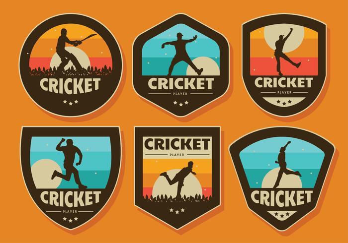 Cricket-Spieler-Abzeichen-Vektor-Pack vektor