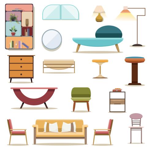 Set of decoration furniture living room vector