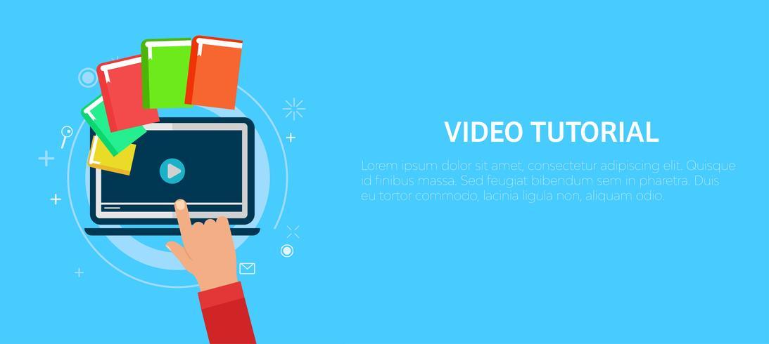 Video-Tutorial-Banner. Hand drücken eines Computers. Flache Vektorillustration