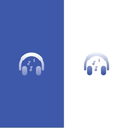 Logo con auriculares. El amor por la música en los auriculares. Radio en línea vector gradiente logotipo
