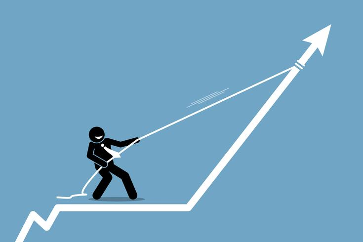 Businessman pulling arrow graph chart up with a rope.