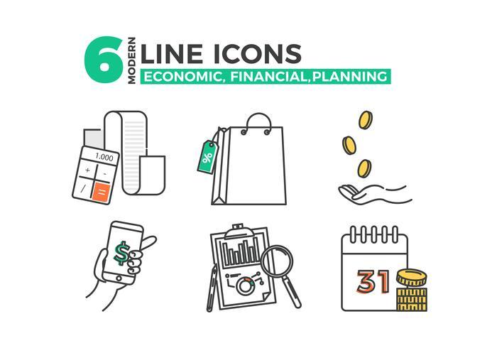 Ícones econômicos, aplicativo de planejamento financeiro. Vector linha arte ilustração