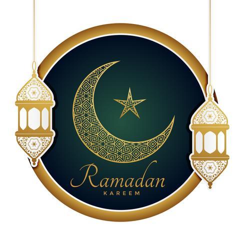 dekorativ måne med lampor för ramadan kareem