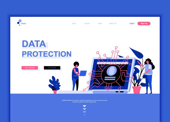 Concept de modèle de conception de page Web plat moderne de protection des données