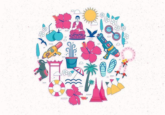 Songkran Festival Illustration Vector