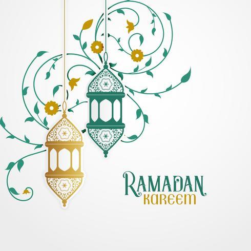 Ramdan Kareem Design mit dekorativer Laterne und islamischem Blumenmuster