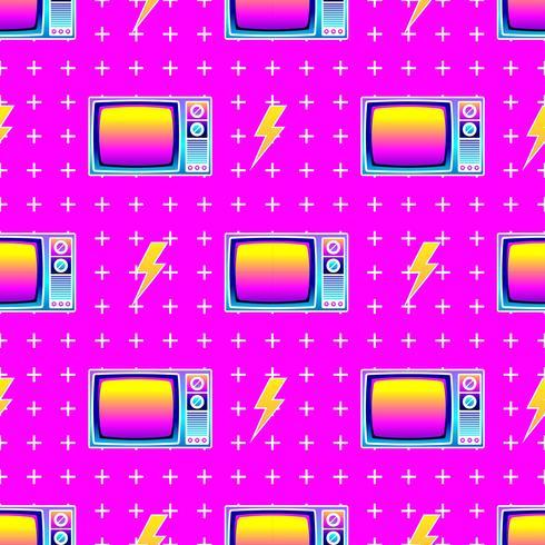 Retro naadloze patroon oude tv