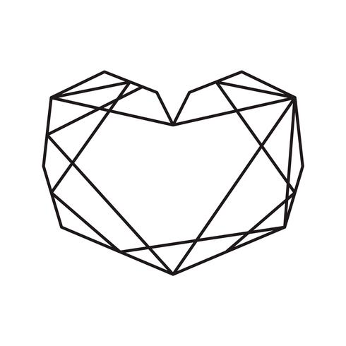 Geometric vector symbol heart shape frame with place for text. Love icon for greeting card or wedding, Valentines day, tattoo, print. Vector calligraphy illustration isolated on a white background