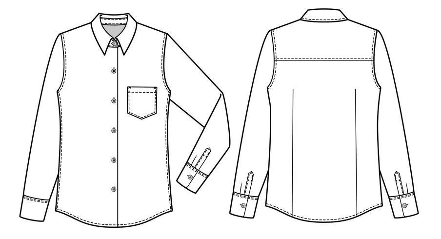 Langärmlige Hemden Mode flache technische Zeichnung Vorlage
