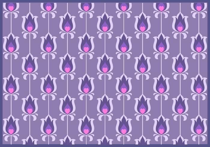 Flor púrpura Vector patrón retro