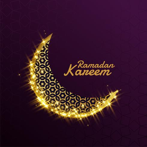 linda brilhante brilho dourado lua decorativa para ramadan kareem