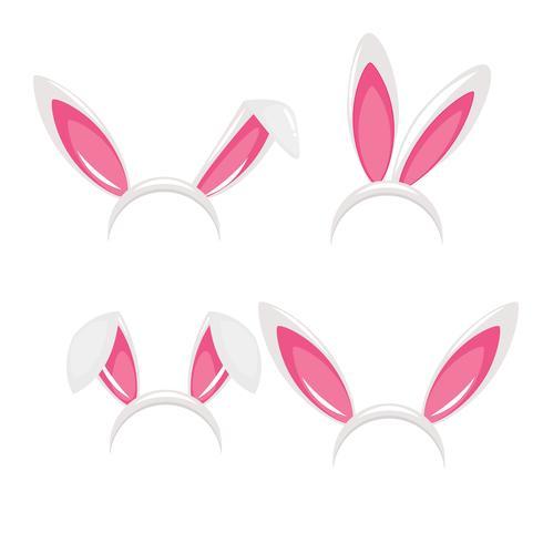 Maschera di carnevale orecchie e naso di coniglio per una foto. Festival dei conigli. Illustrazione di cartone animato vettoriale