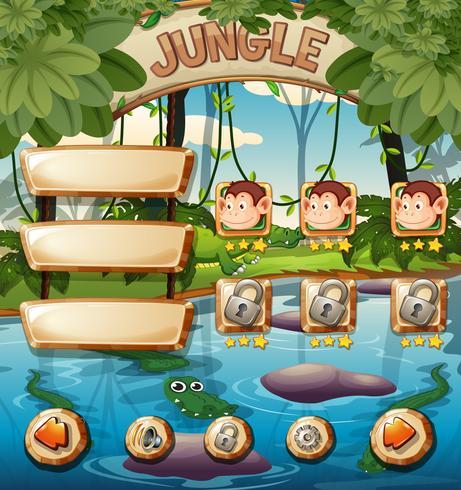 Modelo de jogo de selva animal vetor