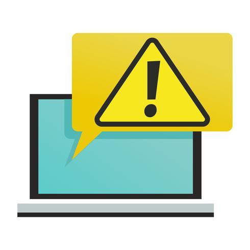 Ein Computer mit einem Virus oder einer dringenden Benachrichtigung