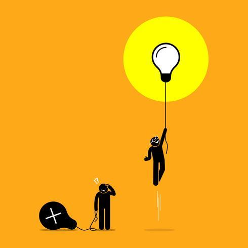 Zwei Personen kreierten unterschiedliche Ideen, aber nur einer hat Erfolg, während der andere versagt.