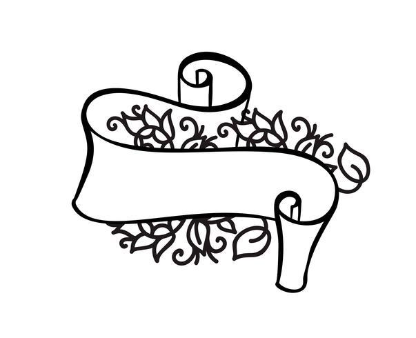 Quadro vintage com fita e lugar para o texto com flores tropicais e folhas no fundo branco, ilustração vetorial para cartão ou casamento, feriado, tatuagem, impressão vetor