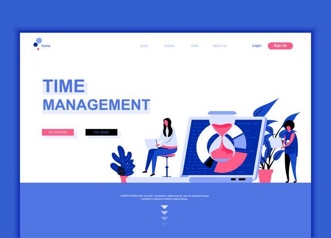 Modernt platt webbdesign mall koncept för Time Management
