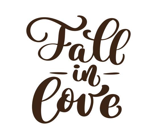 Verlieben Sie sich handgeschriebene Herbstsaisoninschriften. Vektor Hand Schriftzug. Moderne Bürstenkalligraphie lokalisiert auf weißem Hintergrund