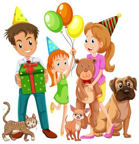 Familia con hija y muchas mascotas. vector