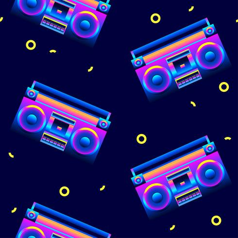 Retro naadloze patroon Boombox