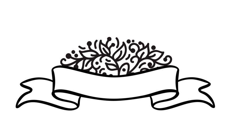 Quadro de bandeira vintage com banner de fita e lugar para o texto com flores tropicais e folhas no fundo branco, ilustração vetorial para cartão ou casamento, feriado, tag, impressão vetor