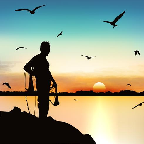 Silhouette of man waiting to catch the fish in twilight. vector