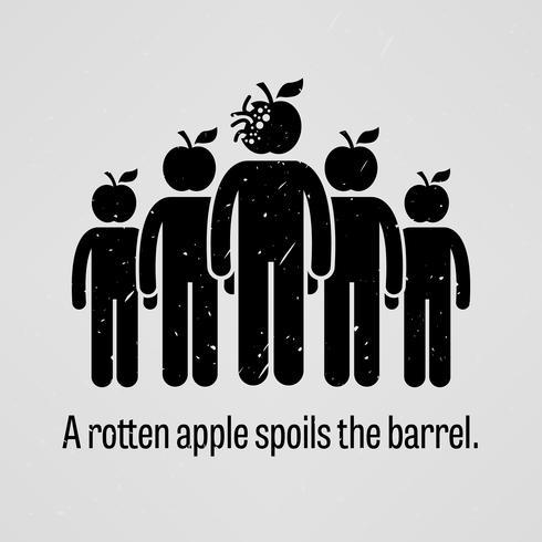 Une pomme pourrie gâte le tonneau. vecteur
