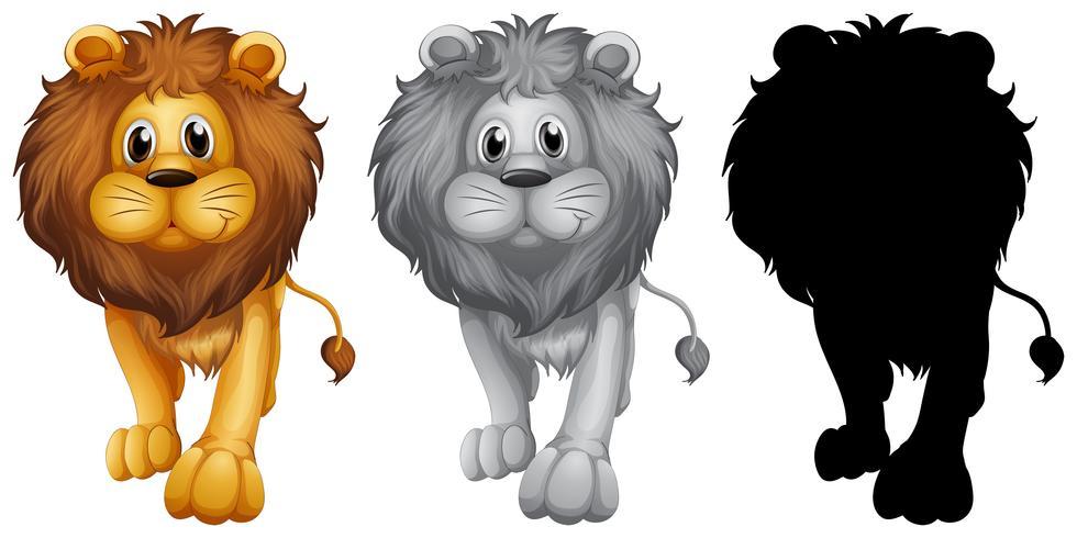 Jogo, de, leão, personagem vetor
