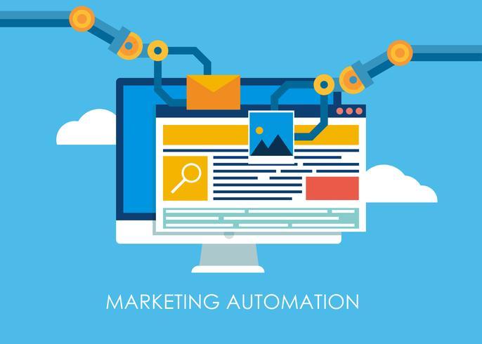 Automazione del marketing. Computer con un sito che costruisce le mani del robot. Illustrazione piatta vettoriale