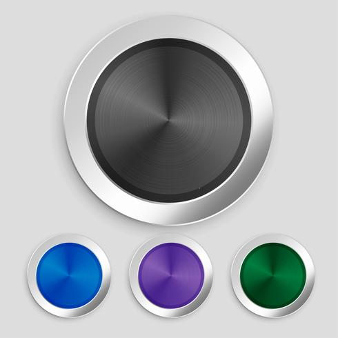 four realistic brushed metallic buttons set