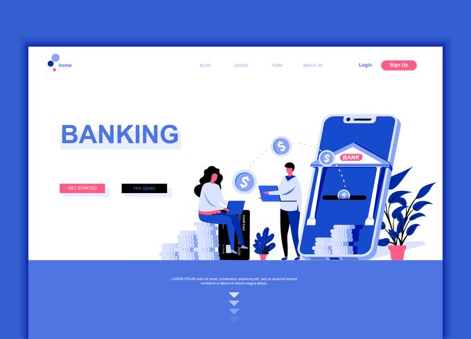 Modern platt webbdesign mall koncept för Online Banking