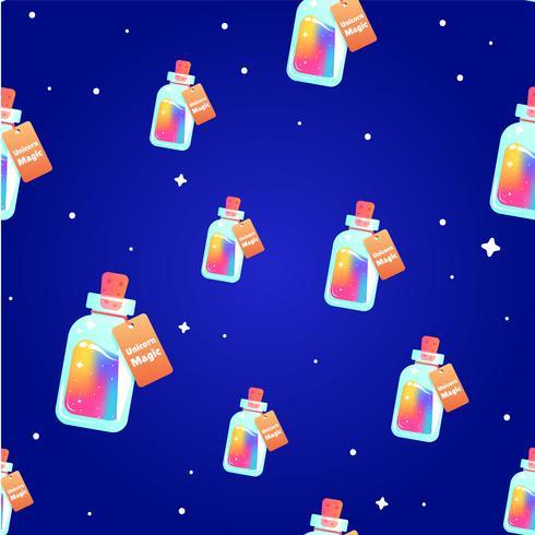Le mana magique d'un modèle sans couture de licorne. Rainbow liquide avec étoile dans la bouteille. Illustration de dessin animé de vecteur
