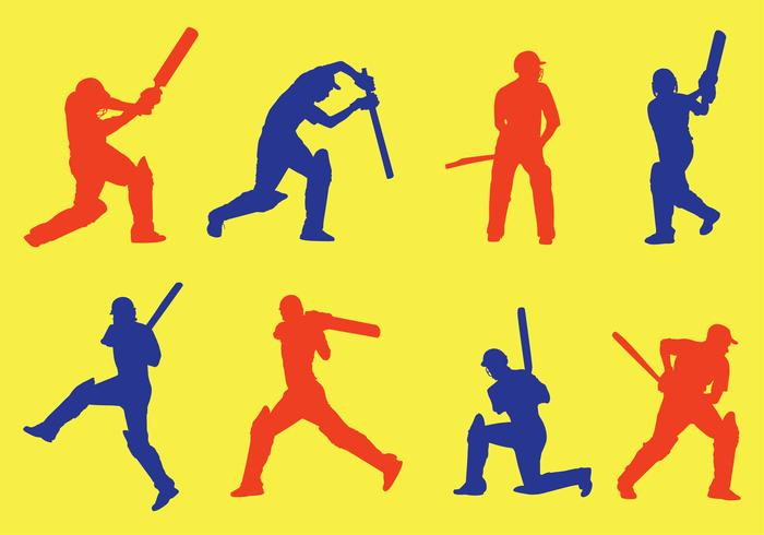 Cricket Player Silhouette Vector Pack