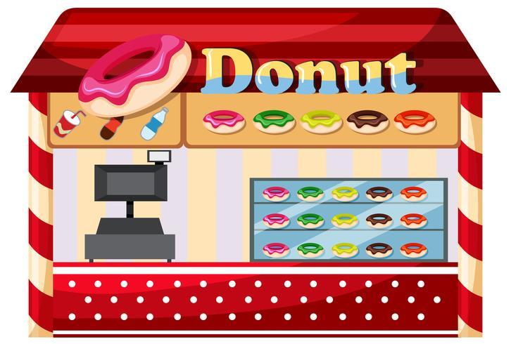 Uma loja de donuts no fundo branco
