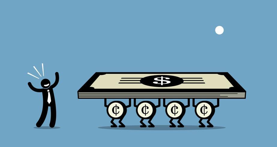 Use dinheiro para ganhar mais dinheiro. vetor