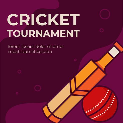 Cartaz de torneio de críquete vetor